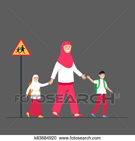 Mom Moslem Accompany Kids To Back To School Clipart | k83684920 | Fotosearch
