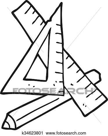 Schwarz Weiß Karikatur Bleistift Und Lineal Clipart