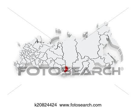 Carte, de, les, russe, federation., république, khakassia