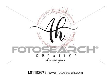 Handwritten AH a h letters logo with dust pink sparkling