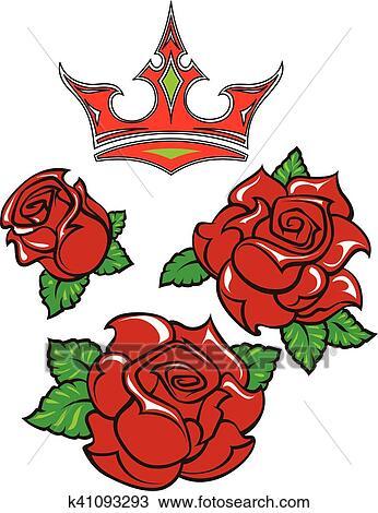 Old School Diseñar Tatuaje De Tres Rosas Rojas Con Hojas