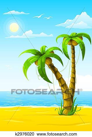 Galleria di Illustrazioni  estate spiaggia con mare
