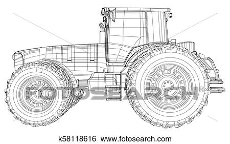 Vector tractor. Side view. Wire-frame tracing illustration
