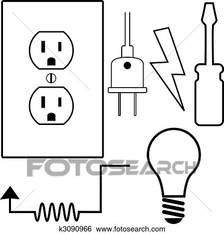 Clip Art of Electrical Repair Contractor Electrician