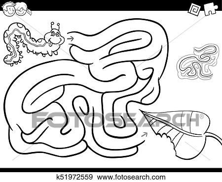 Maze game coloring book with caterpillar and leaf Clip Art