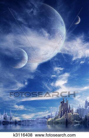 Paesaggio in fantasia pianeta Archivio Illustrazioni  k3116408  Fotosearch