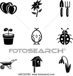 Front garden icons set simple style Clipart k60153783 Fotosearch