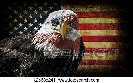 Stock Photography Of American Bald Eagle On Grunge Flag