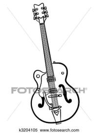 Stock Illustration of Electric Guitar line art ...
