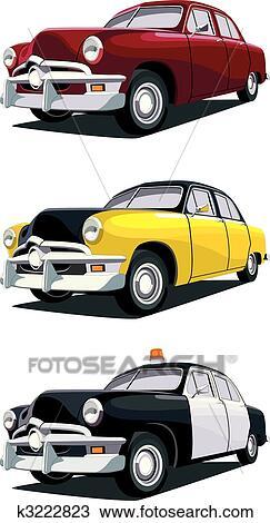 Vintage Car Clipart : vintage, clipart, American, Vintage, Clipart, K3222823, Fotosearch
