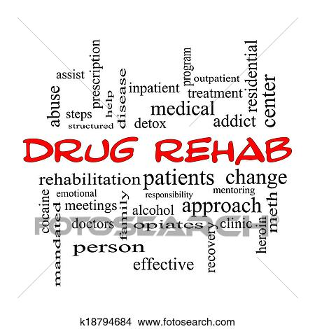 Drug Rehab Word Cloud Concept in red caps Stock Photo