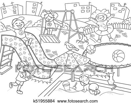 Drawings of Childrens playground coloring. Raster