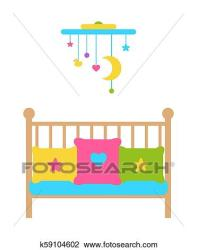 Crib Young Child Bed with Barred or Latticed Sides Clipart k59104602 Fotosearch