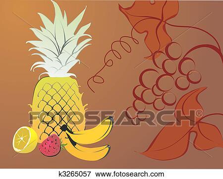 stock illustration of banana strawberry