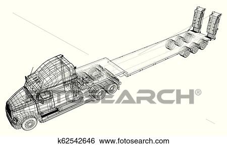 Car Delivery Semi Truck Trailer. Wire-frame. EPS10 format