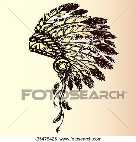 Native American Indian Chief Headdress Clipart K35475425 Fotosearch