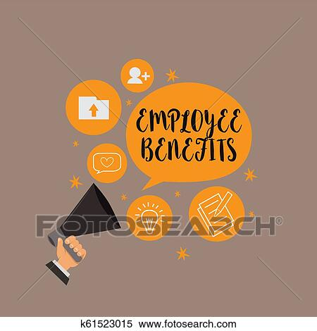 Writing note showing Employee Benefits. Business photo showcasing Indirect and noncash compensation paid to an employee Stock Illustration ...