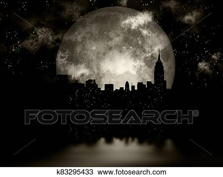 Full moon night city Drawing | k83295433 | Fotosearch