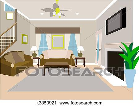 living room pictures clipart modern white furniture for angled of two story house k3350921