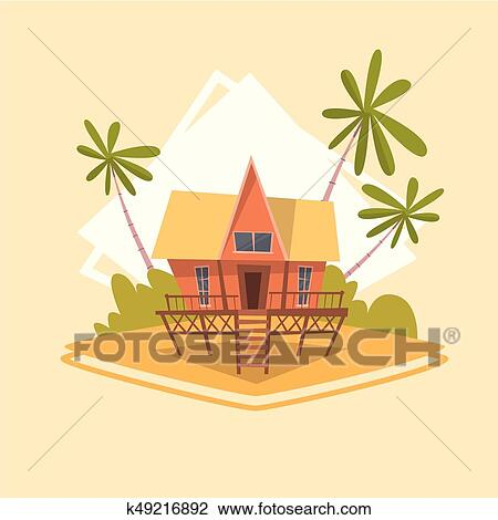 Bungalow House Icon Summer Sea Vacation Concept Summertime Holiday Clipart K49216892 Fotosearch
