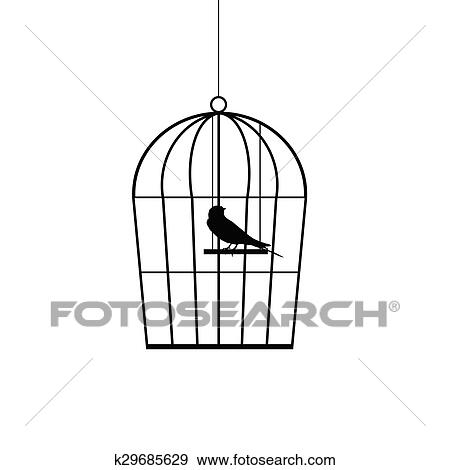 Clip Art of sparrow in a cage black vector k29685629