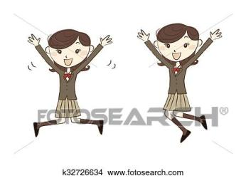 student uniform female jumping clip clipart illustration vector students fotosearch illustrations drawings drawing wearing vectors eps boy royalty canstockphoto graphics