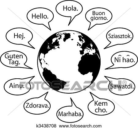 Clip Art of Translate Earth Languages say Hello World