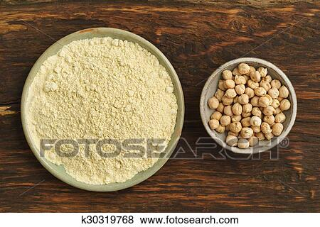Chickpea seeds and chickpea flour Stock Photo   k30319768   Fotosearch