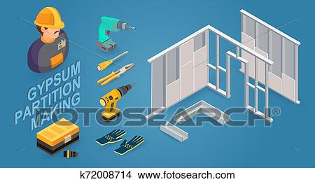 Gypsum partition making. Drywall work. Building services. Isometric icons. Vector Clipart   k72008714   Fotosearch