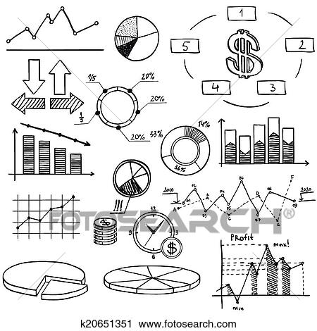 Clipart of business finance doodle hand drawn elements