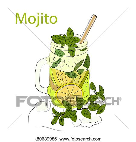 Cocktail with lime and mint. Mojito. Vector illustration Clip Art | k80639986 | Fotosearch