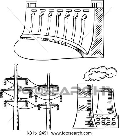 Electrical power plants and towers sketch icons Clipart