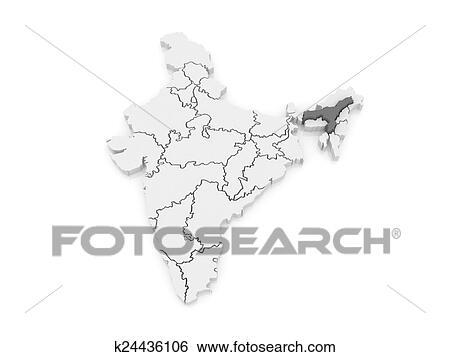 Carte, de, assam., india. Banque d'Illustrations