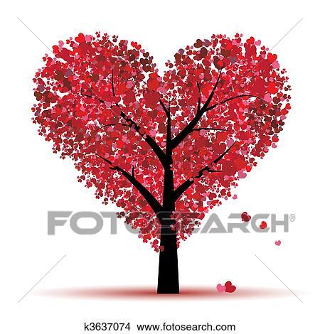 Clipart Valentine Rvore Amor Folha De Coraes