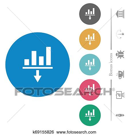 Decrease left indentation of content flat round icons Clip Art | k69155826 | Fotosearch