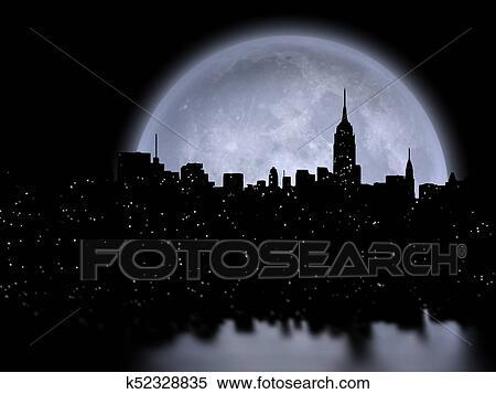 Manhattan. lua cheia Arquivos de Ilustração | k52328835 | Fotosearch
