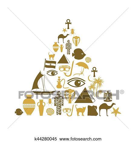 egypt country theme symbols icons