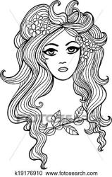 Black and white outline girl illustration for Your design Clipart k19176910 Fotosearch