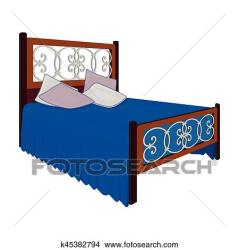 Wooden bed for teenager with graffiti on the back Bed with blue linens Bed single icon in cartoon style vector symbol stock illustration Clipart k45382794 Fotosearch