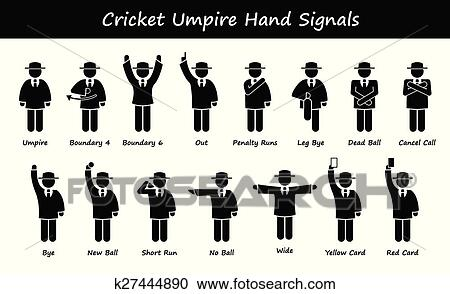 Clipart of Cricket Umpire Referee Signals k27444890