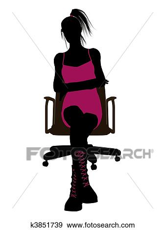 office chair illustration bar steel reinforcement stock of punk girl sitting on an silhouette fotosearch search