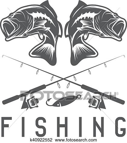 Vintage fishing vector design template with largemouth