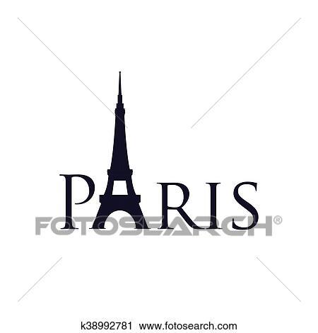 Tour eiffel, bâtiment, paris france, icon., vecteur