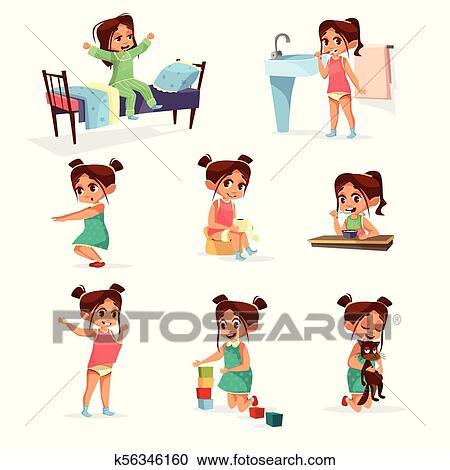 矢量, 卡通, 女孩, 每日 慣例, 活動, 集合 剪圖Clipart   k56346160   Fotosearch