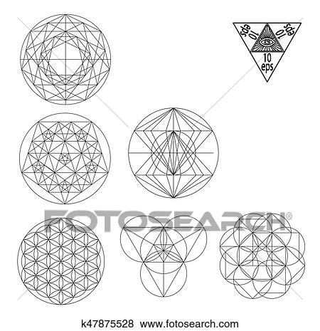 Sacred geometry symbols and signes vector illustration