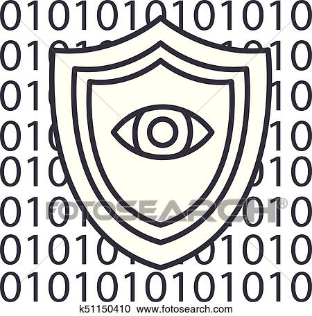 Software security, anti virus vector line icon, sign