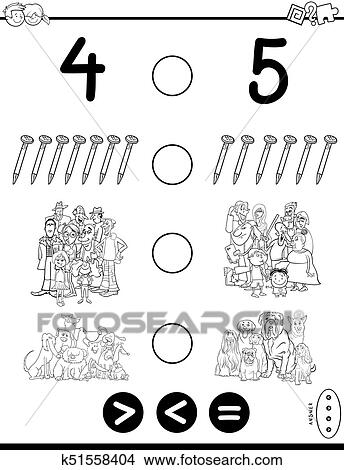 Greater less or equal game coloring book Clipart