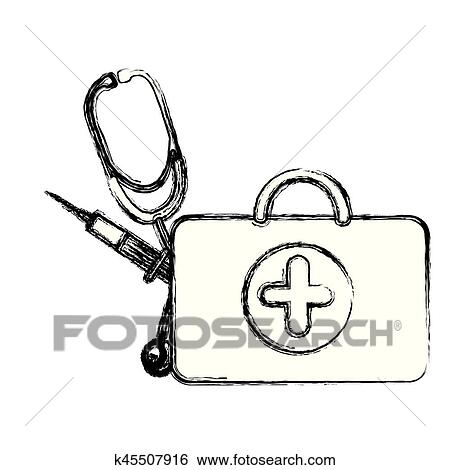 Profile suitcase health with stethoscope and syringe Clip