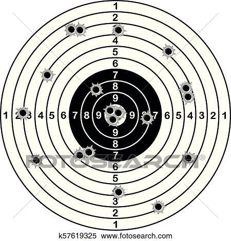 Shooting range target shot of bullet holes. vector