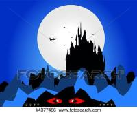 Stock Illustration of Dark castle silhouette with moon ...